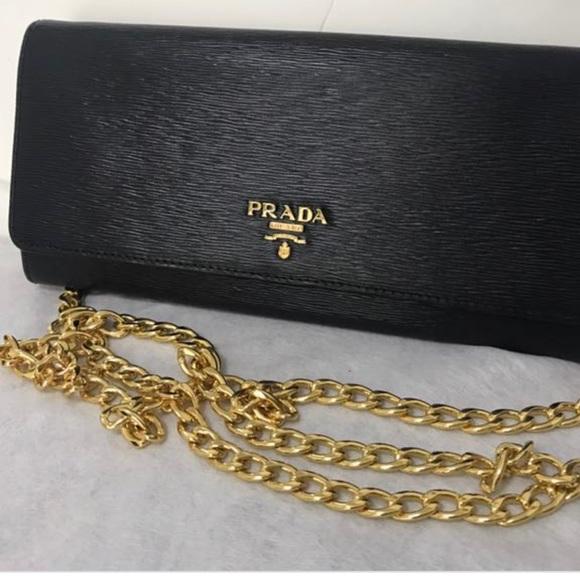 6aa6db8c5f1200 Prada Bags | Authentic Leather Chain Wallet | Poshmark